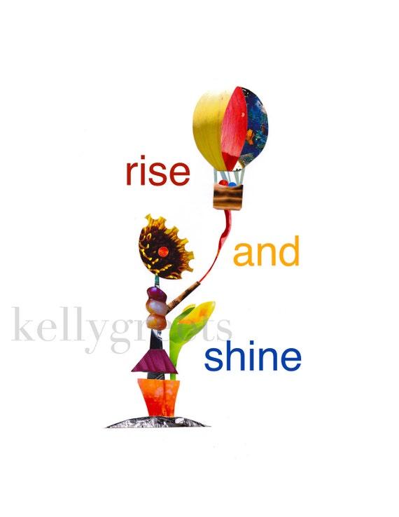 Rise and Shine - Sunflower and Balloon Kite 8x10 Original Photo Collage Fine Art Print.