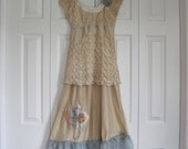 mori girl Baby doll beige blue Eco prairie girl romantic dress size Small-medium Ready to ship