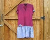 boho dress medium, medium fushia purple dress, boho hand dyed dress, purple fushia medium ready to ship