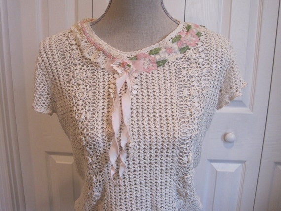 upcycled mori girl silk sweater cream xmall small ready to ship