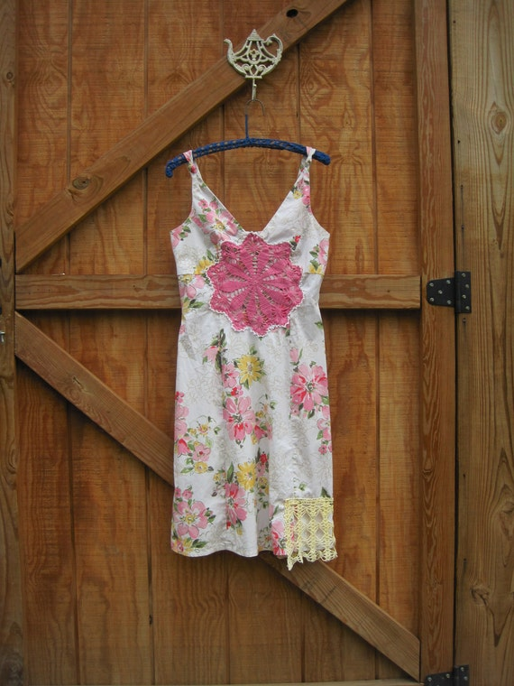 Boho sundress, floral sundress, Doilie sundress, Funky boho dress, cream pink yellow medium ready to ship