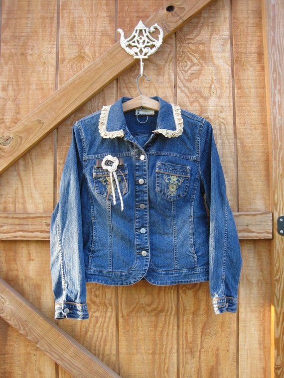 Country western jacket, boho denim jacket medium large Upcycle western jacket Ready to ship