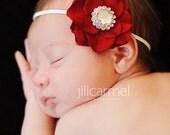Red Flower Baby Headband - Fabric Flowers - Headbands - Red Flower on White Elastic Headband With Rhinstone Button