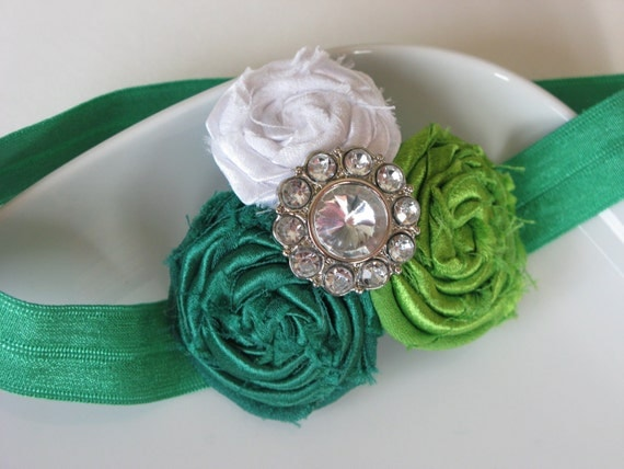 Headbands Baby - Childrens Headband - Infant Headband - Green and White Fabric Flower Headband with Rhinestone Button - Rolled Rosettes