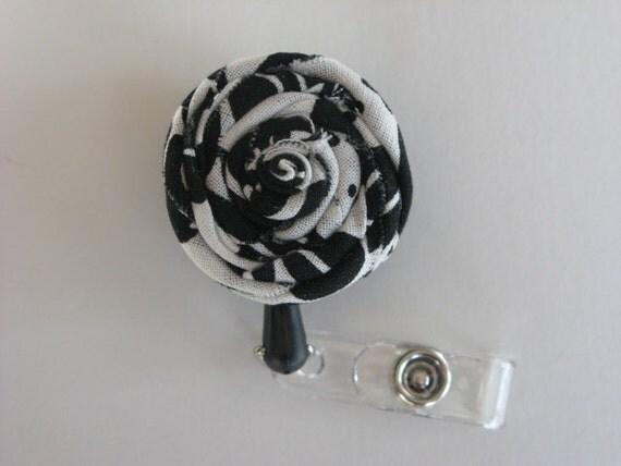 Retractable Badge Reel - ID Badge Holders - Fabric Flower Badge Reels - Black and White Damask Flower Badge Reel