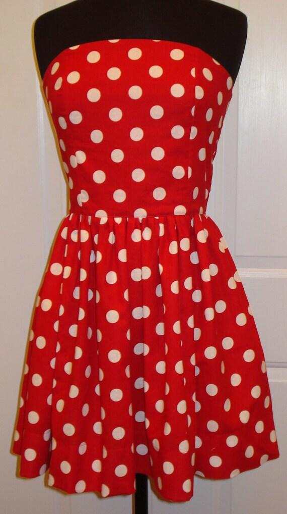Made to Order Polka Dot Strapless Dress