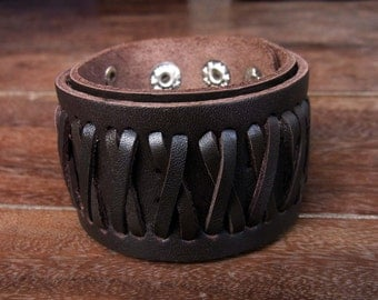 Country Braided Leather Cuff Bracelet