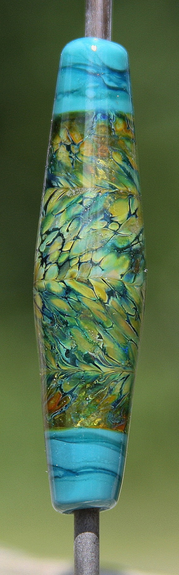 Wading in the Shallows Handmade Lampworked Glass Bead OOAK