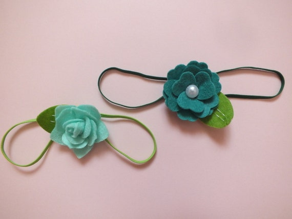 Felted Flower Headband, Light Teal, Teal, Photo Prop