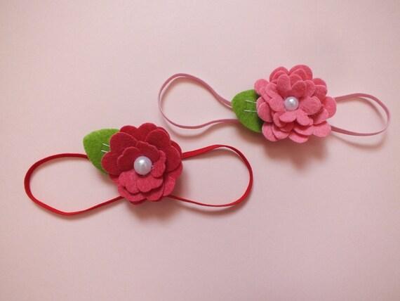 Baby Felted Flower Headband, Pink, Fuchsia, Red, Photo Prop