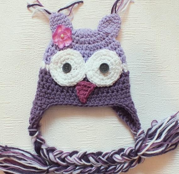 Newborn Hat, Owl Hat, Lavender, Purple, White, Photo Prop