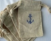 Beach Wedding Nautical Favors, 10 Anchor Wedding Favors, Cotton Favor Bags