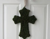 Baptism or Confirmation Cross - Moss Covered Cross Door Hanging 16 inches - Ribbon Color of Your Choice