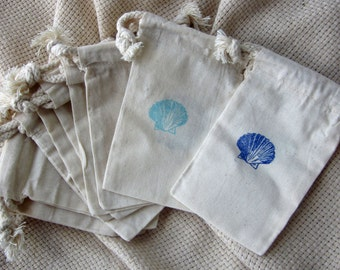 Beach Wedding Favors, 10 Seashell Beach Wedding Favors, Cotton Favor Bags 3x5