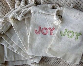 """Christmas Gift Bags- 10 Christmas """"Joy"""" Gift Bags - Cotton Favor Bags *SHIPS NEXT DAY*"""