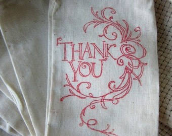 Wedding Favors Thank You Bags, Set of 10 Thank You Cotton Favor Bags size 3x5