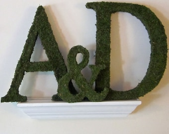 Moss Covered Letter - Wedding Monograms Ampersand Set ( 8 inches )