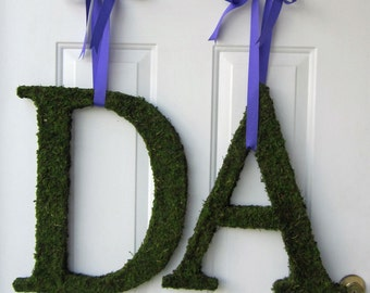 Moss Covered Monogram Letter - Moss Covered Letter - Set of TWO ( 12 inches )