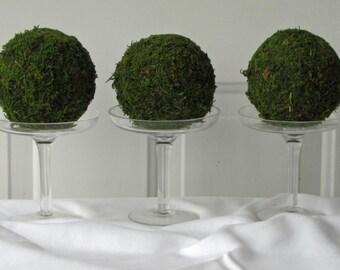 Moss Pomander Balls, Set of 3, 3  inch Moss Balls for Home or Wedding Decor