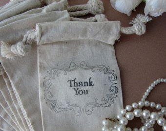 Wedding Favors Thank You, 10 Fancy Thank You Cotton Favor Bags, Size 3x5