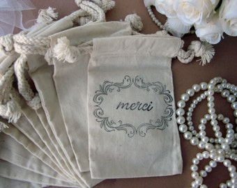 "French Wedding Favors, 10 ""Merci"" - French Style Script Cotton Favor Bags"