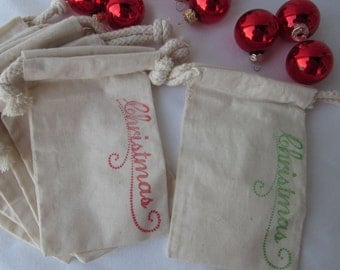 """Christmas Gift Bags- 10 """"Christmas"""" Gift Bags - Cotton Favor Bags, *SHIPS NEXT DAY*"""
