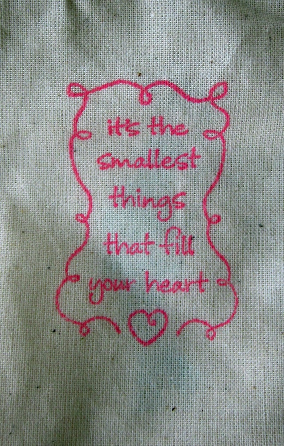 Baby Shower Favors, 10 Smallest Things That Fill Your Heart, Cotton Favor Bags 3x5