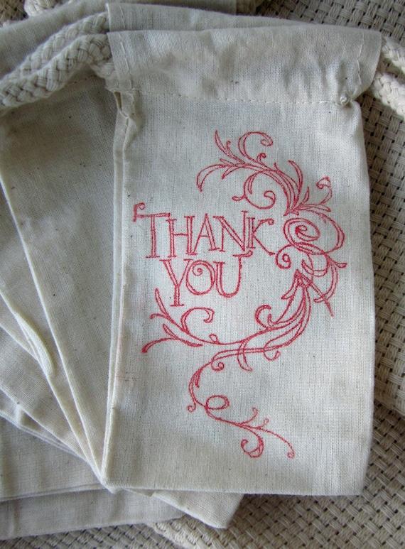 Wedding Gift Bag Thank You : Wedding Favors Thank You Bags, Set of 10 Thank You Cotton Favor Bags ...