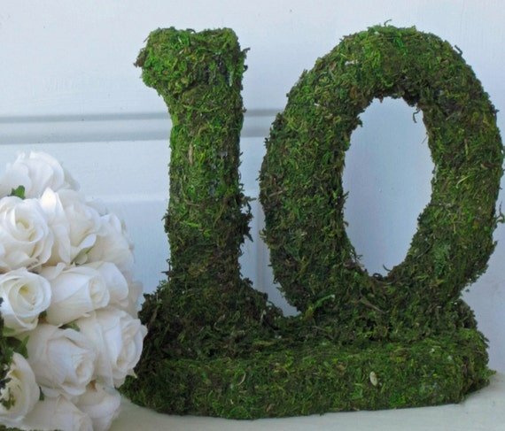 Rustic Table Numbers Moss Covered -  Listing for 10 table numbers