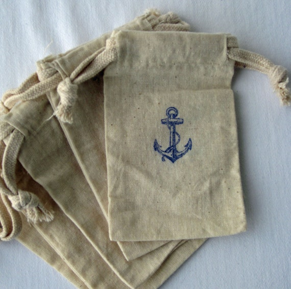 Wedding Favor Bags Beach : Beach Wedding Nautical Favors, 10 Anchor Wedding Favors, Cotton Favor ...