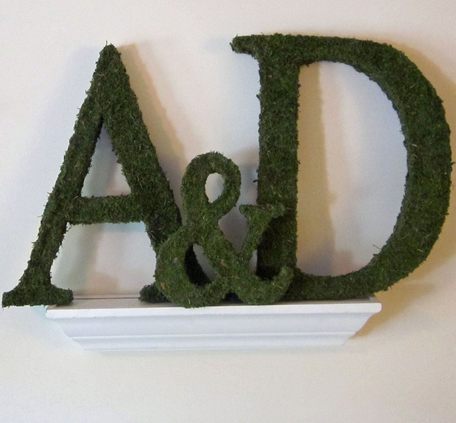 Moss Covered Letters: Moss Covered Wedding Monograms Ampersand Set 12 Inches