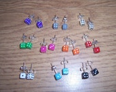 TWO PAIRS mini DICE stud Earrings Silver Plated your colours Retro Kitsch 50s
