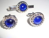 Vintage Silver and Blue Cuff Links and Tie Clip Set