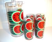 Vintage Acrylic Pitcher and Tumbler Set with Watermelons by Stotter