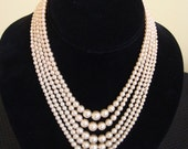 Vintage Pearl Necklace, 5 Strand Graded Faux Pearls