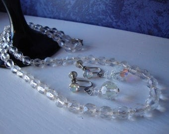 Vintage Crystal Necklace and Earrings Demi Parure