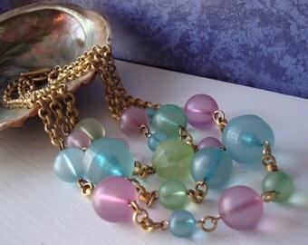 Vintage Pastel Necklace Three Strand Gold Tone Beaded