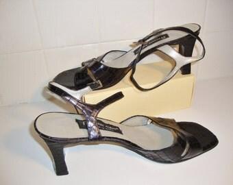 Vintage Etienne Aigner Black Leather Sandals, Size 10 M