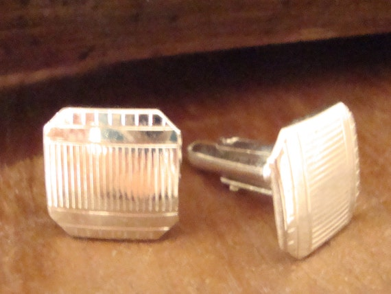 Vintage Swank Silver Square Cuff Links