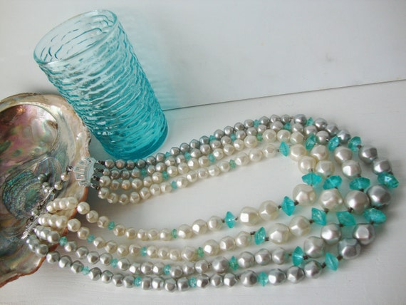 Vintage Aqua and Pearl Beaded Multistrand Necklace