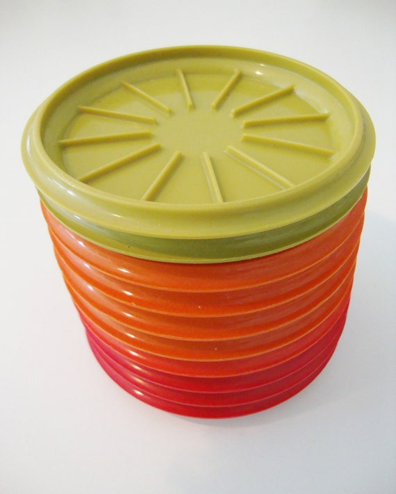 Vintage Tupperware Coasters Set of Ten