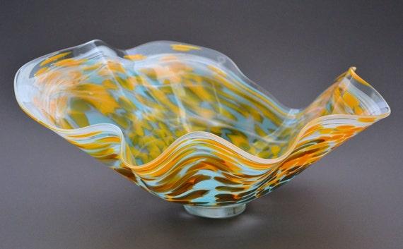 Large Sea Scalloped Delicate Handblown Glass Waved Bowl