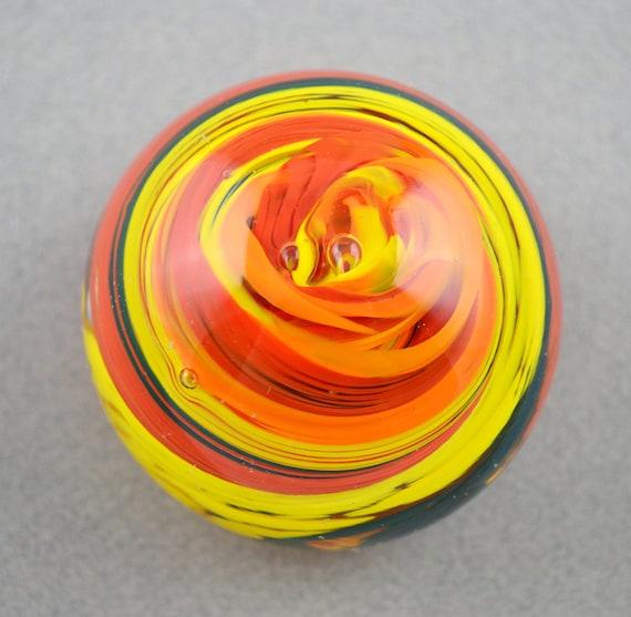 Rainbow Swirled Handblown Glass Paperweight