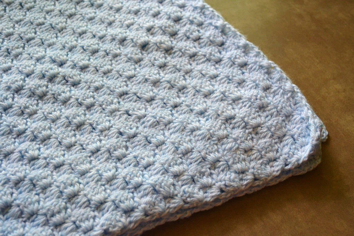 Crochet Pattern For Owl Baby Afghan : Baby Blanket Crocheted Blue Basket Weave Crib Size By