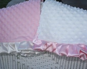 "Dreamy Pillowcases- Minky and 2"" Satin Ruffle Edge or Satin Trim"