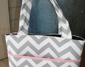 Gray Chevron and Pink Trim Medium/Large Diaper Bag and OnThe Go Changing Pad
