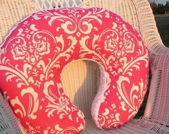 Nursing Pillow Cover - Damask and Minky Boppy Cover -Pink, White Black, Black, Pink Black