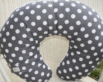 Dark Gray Dots with Minky Boppy Cover