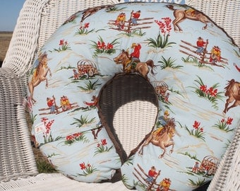 Nursing Pillow Cover - Barn Dandy Cowboy and Brown Minky Boppy Cover - Western, Horse, Cowboy, Wild West