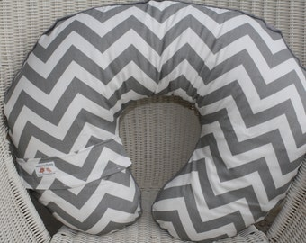Gray White Chevron and Light Yellow Minky Boppy Cover